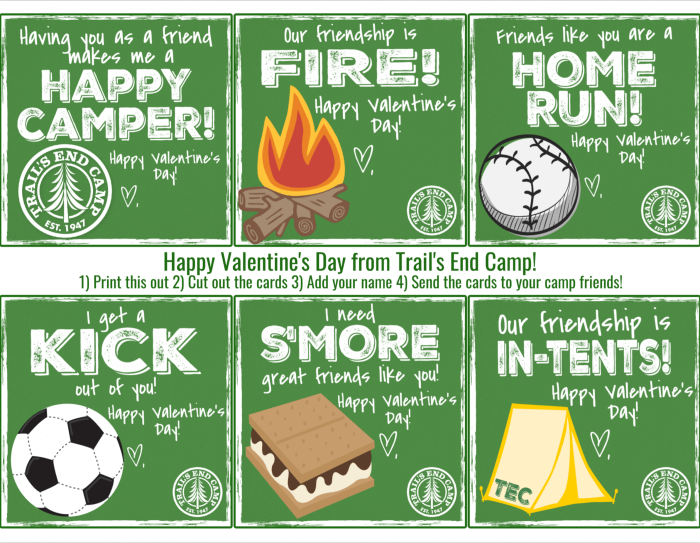 printable summer camp themed valentine's day cards from Trail's End Camp